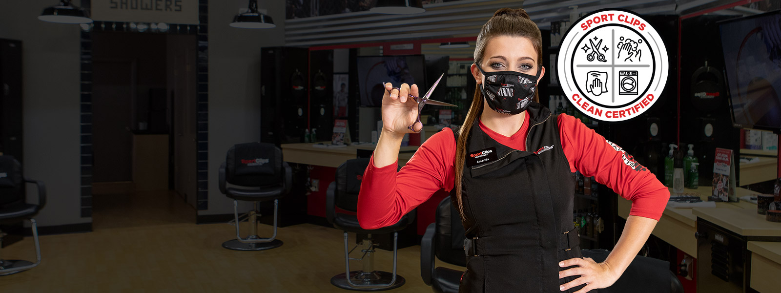 Stylist wearing mask, Sport Clips Certified Clean logo
